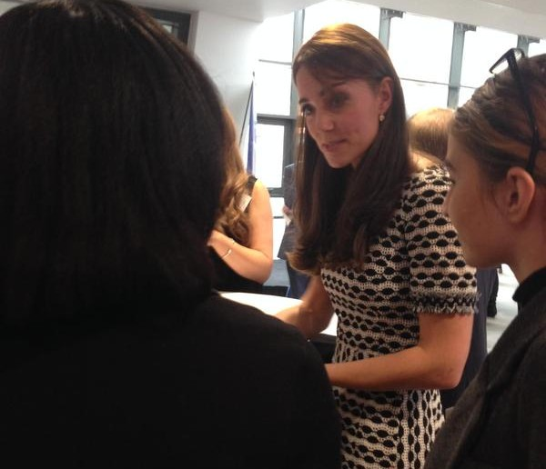 The Duchess speaks with others about their experiences