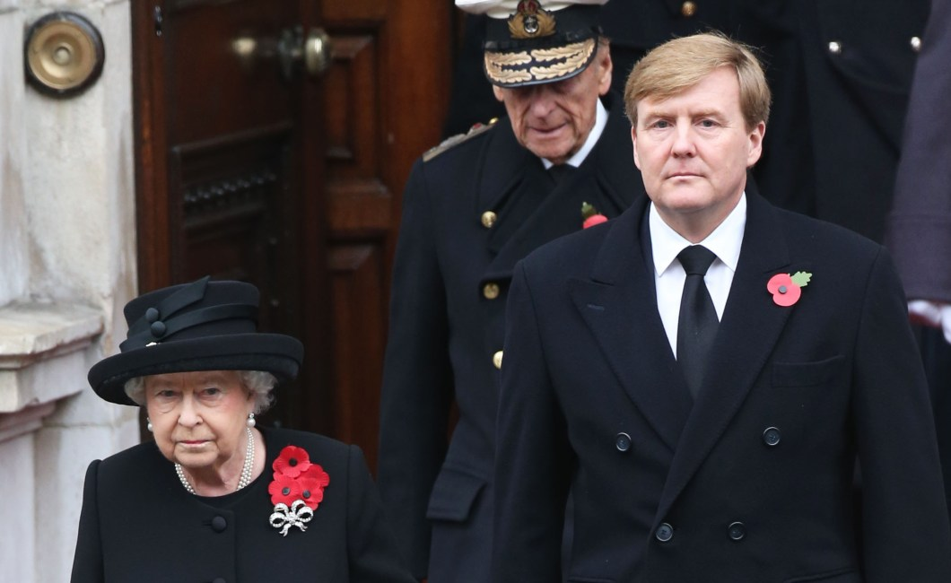 The Queen and King Willem Alexander arrive at the Remembrance Sunday service at The Cenotaph. Picture by Stephen Lock / i-Images