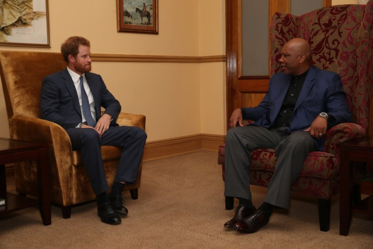Prince Harry meets King Letsie III of Lesotho at the King's Palace in Maseru, Lesotho. Picture by Stephen Lock / i-Images