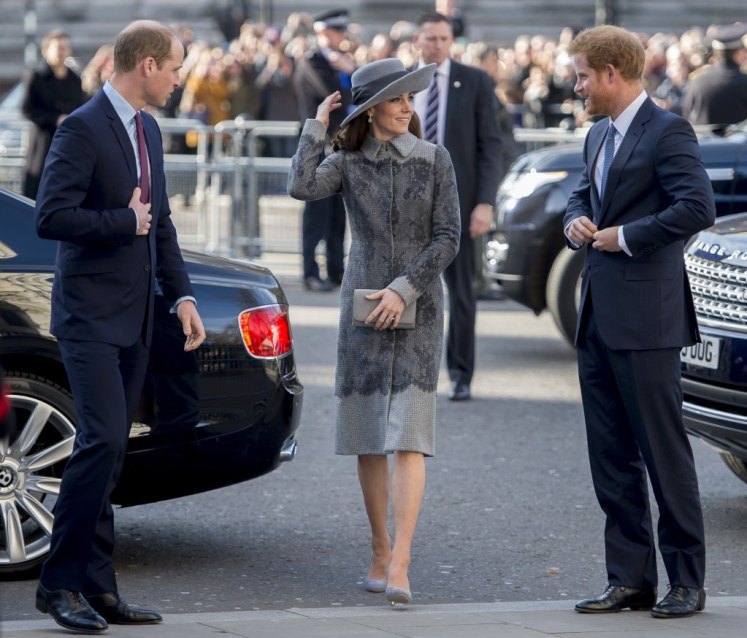 The Duke and Duchess of Cambridge and Prince Harry arrive at Westminster Abbey, to attend the Commonwealth Service on Commonwealth Day. Picture by David Mirzoeff / i-Images