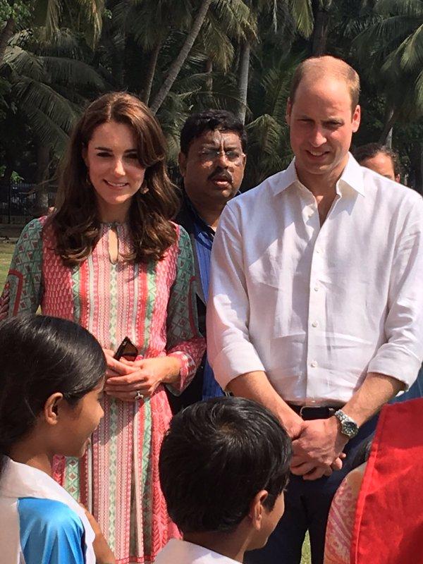 The Duke and Duchess of Cambridge meet children from the local Door Stop School in Mumbai. Rebecca English/Daily Mail