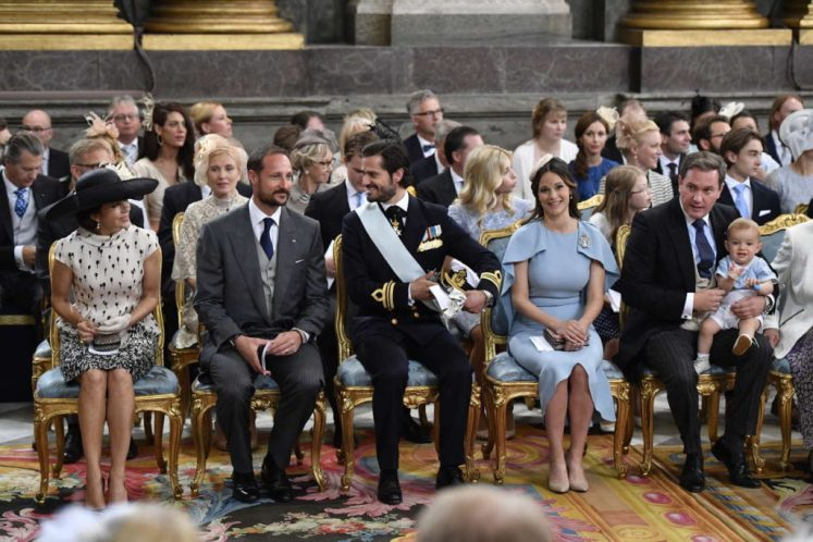 Crown Princess Mary, Crown Prince Haakon of Norway, and Prince Carl Philip and wife Princess Sofia were all at the christening.