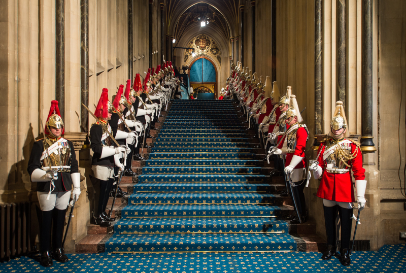 The Household Cavalry Mounted Regiment line the steps which The Queen did not take at the opening of Parliament. (MOD/Sergeant Rupert Frere RLC)