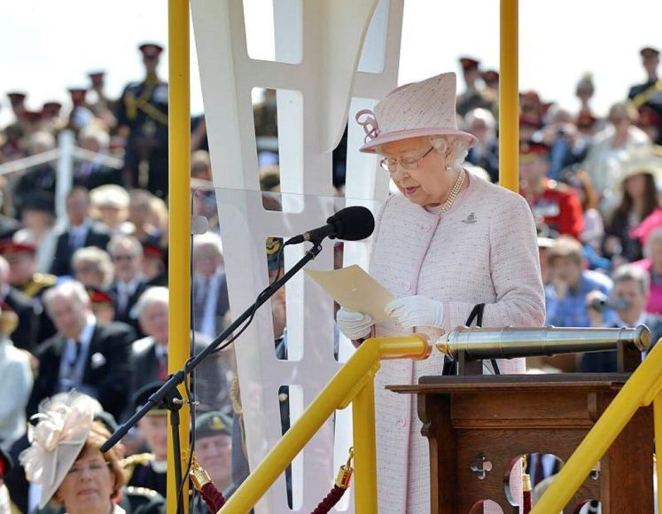 The Queen addresses the Royal Artillery at Larkhill. MOD/Cpl Dan Weipen