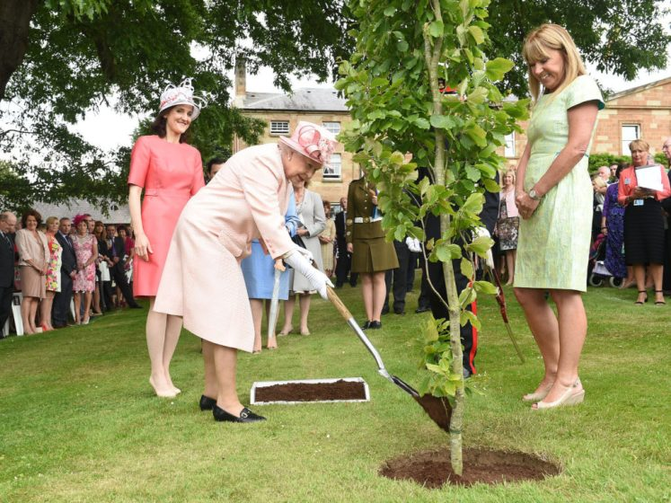 The Queen plants a tree in a pleasant corner of HIllsborough Garden... the same spot as many other trees had been planted! (NI Office)