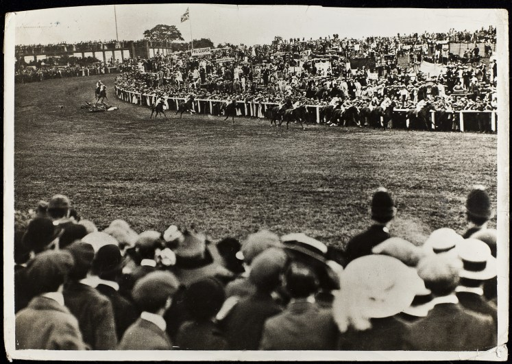 Emily Davison seen on the floor after the collision with the horse.