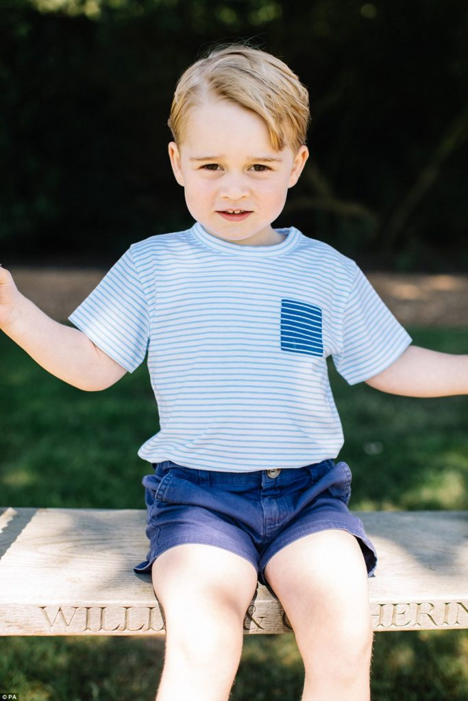 Looking straight at the camera, Prince George for his 3rd birthday. (Matt Porteous/PA)