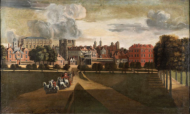 A depiction of Whitehall Palace by Hendrik Danckerts circa 1630. Banqueting House sits one in from the left. (Wikimedia Commons)