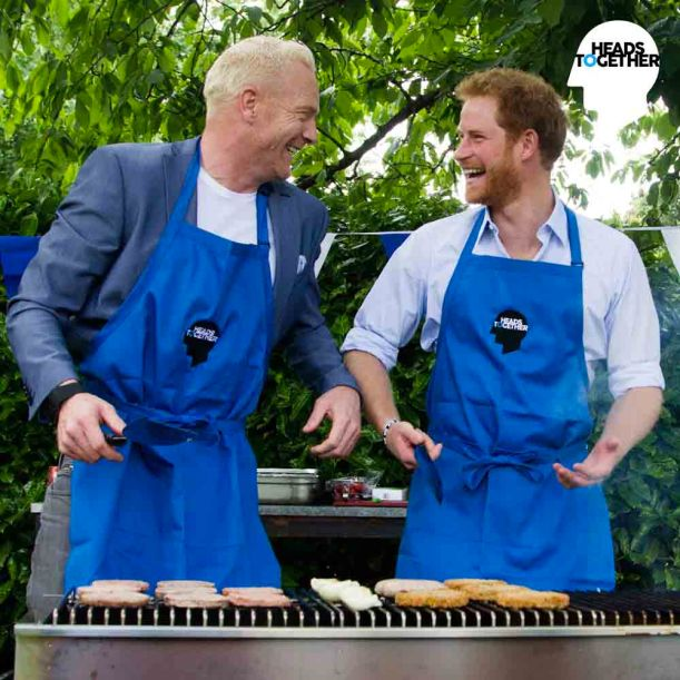 Prince Harry chats with Iwan Thomas about his struggles over a BBQ (Heads Together)