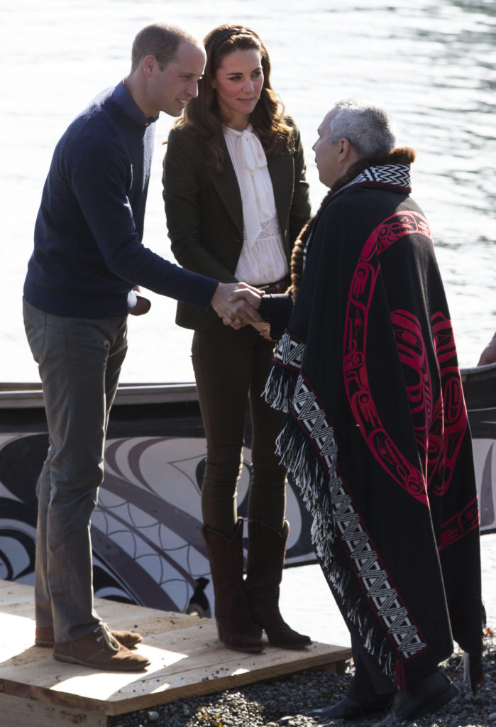 The Duke and Duchess of Cambridge are welcomed to Haida Gwaii by local cheifs. Picture by Stephen Lock / i-Images
