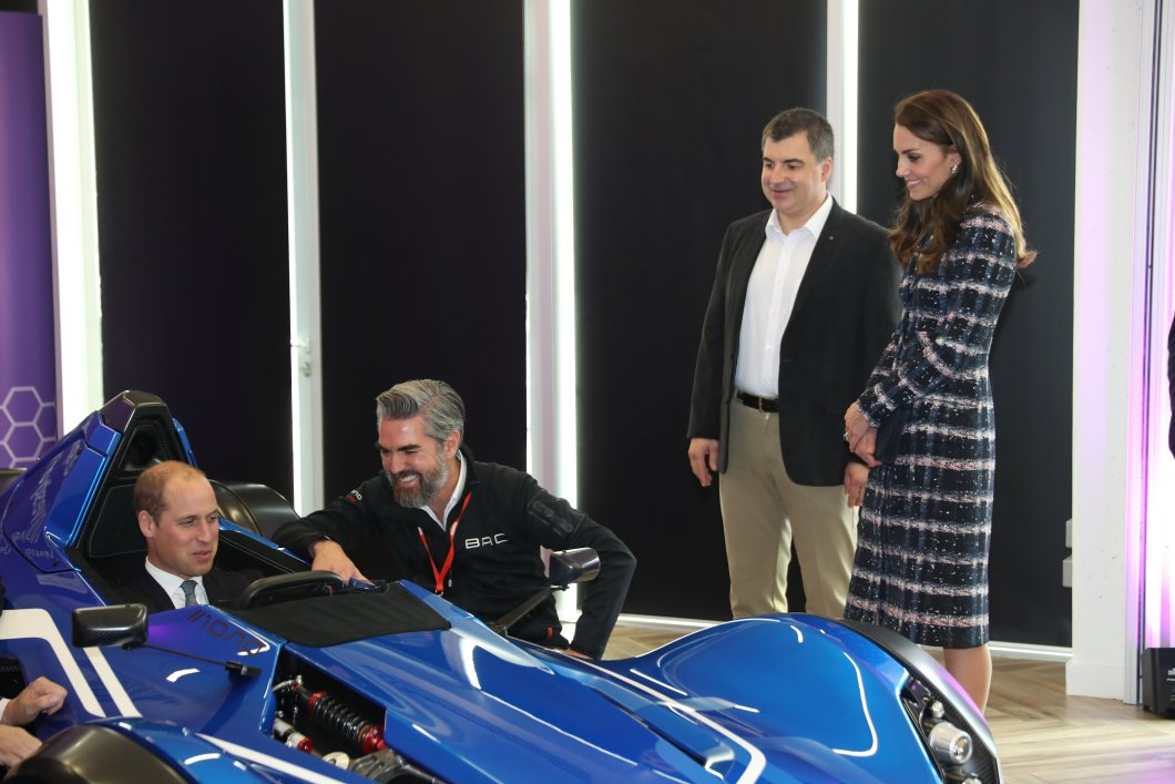 Prince William tries the graphene car at the National Graphene Institute in Manchester, as Kate, Duchess of Cambridge looks on. Picture by Stephen Lock / i-Images