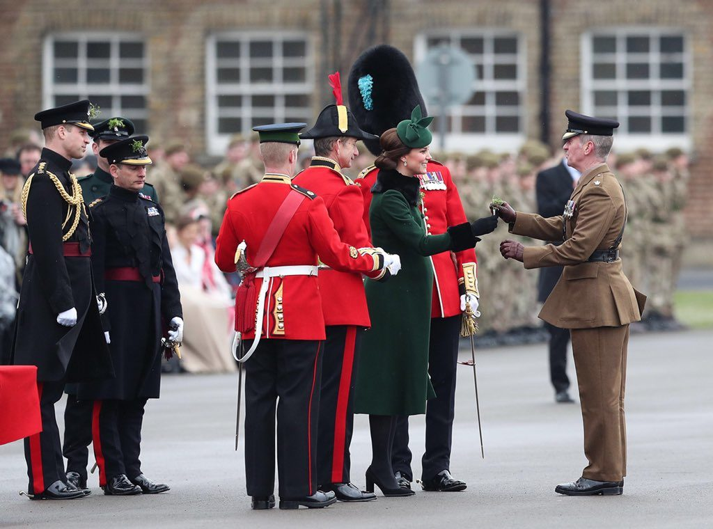 The Duke and Duchess of Cambridge attended the Irish Guards' traditional St Patrick's Day parade (Kensington Palace)