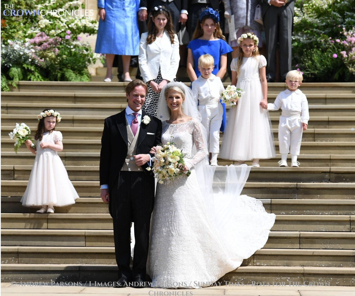 Ella Windsor and Tom Kingston with their bridesmaids, pageboys and attendants after their wedding ceremony (andrew parsons, i-images)
