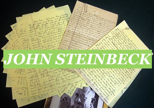 In this June 11, 2010 photo, auction items from the John Steinbeck archive, including autographed manuscripts, are displayed at Bloomsbury Auctions in New York where they will be auctioned on June 23. Expected to bring a total of $200,000 to $250,000, highlights include Steinbeck's acceptance speech for his 1962 Nobel Prize for Literature and numerous manuscripts written in his neat script on lined yellow paper, on topics as diverse as his Irish roots and observations on camping. (AP Photo/Bebeto Matthews)