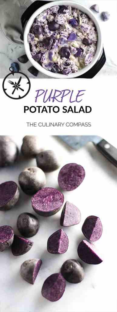 This Purple Potato Salad is an easy dish to throw together, bring to a tailgate, and show your team spirit!