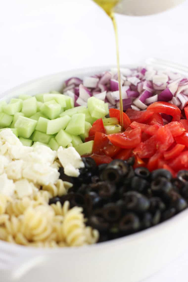 This Greek Pasta Salad is full of refreshing flavors and easy to throw together!