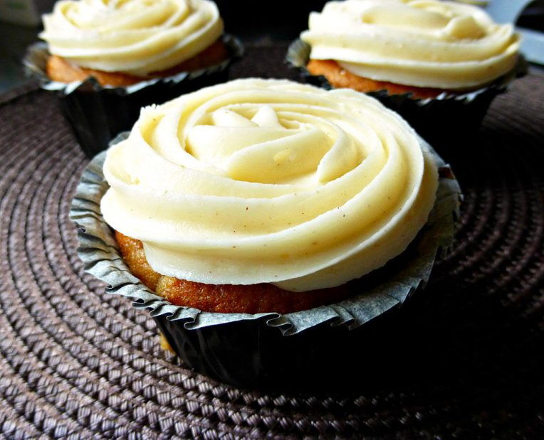 Spiced Zucchini Muffins with Cream Cheese Frosting (reduced fat)