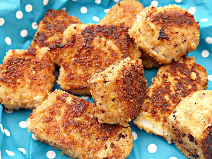 Spicy Tortilla Chip Coated Fish Nuggets (from scratch)