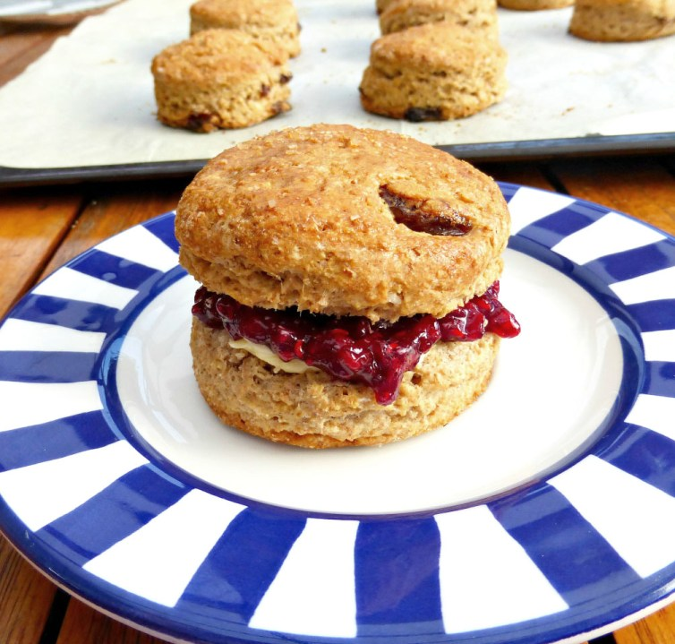 Wholemeal and Spelt Cinnamon and Sultana Scones with Homemade Raspberry Jam