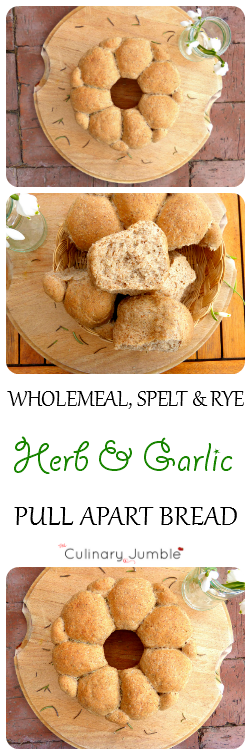 Wholemeal, rye and spelt herb and garlic pull apart bread