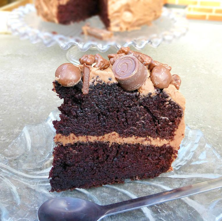 Chocolate Overload Layer Cake with Nutella Cream Cheese Frosting