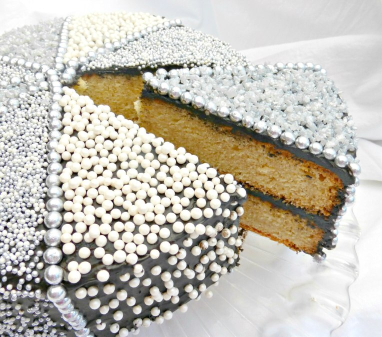 Sparkly Celebration Vanilla Layer Cake with a Chocolate Cream Cheese Frosting