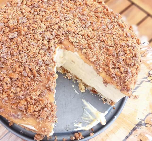 Daim Bar and Gooey Caramel No-Bake Cheesecake