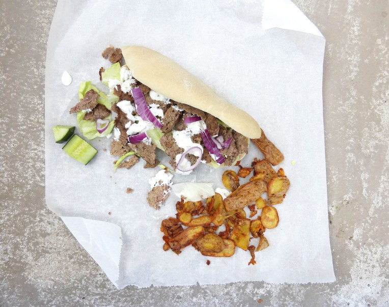 Saturday Fakeaway: Gyros and Tzatziki in Homemade Pita Bread with Potato Skin Fries