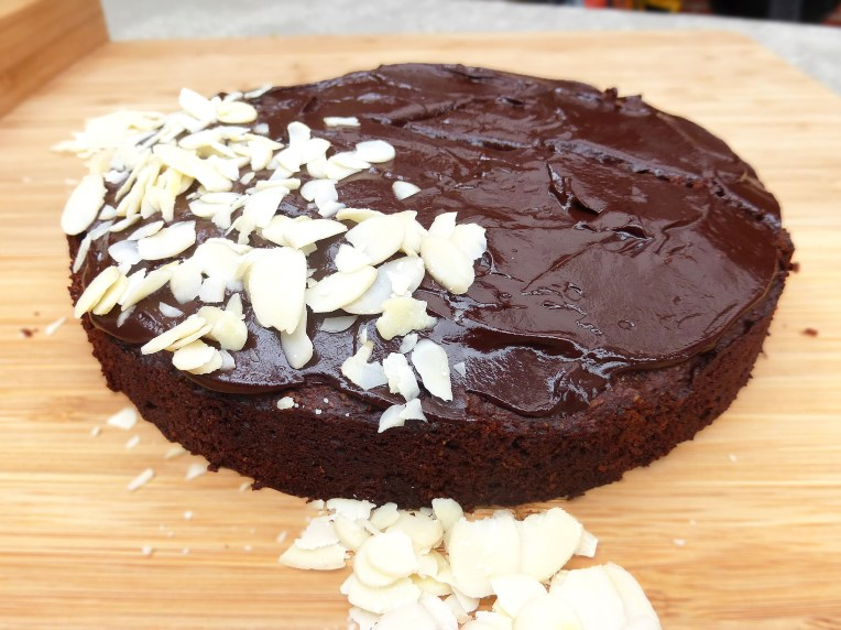 Chocolate Almond Cake with a Dark Chocolate Ganache (no refined sugar & GF)