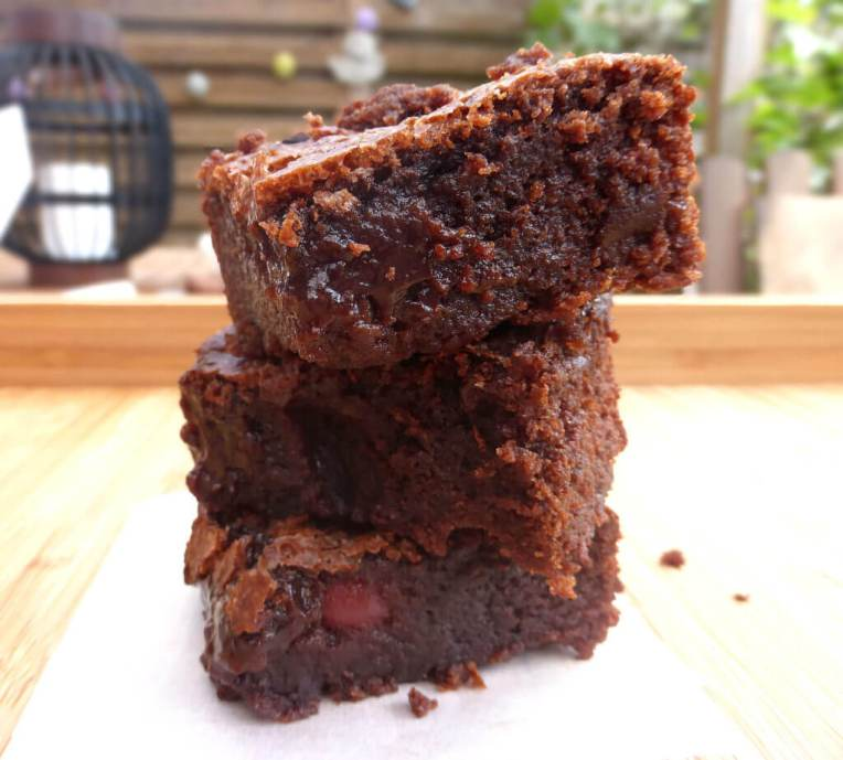 Ridiculously Gooey Fudgy Milk Chocolate Cherry Brownies