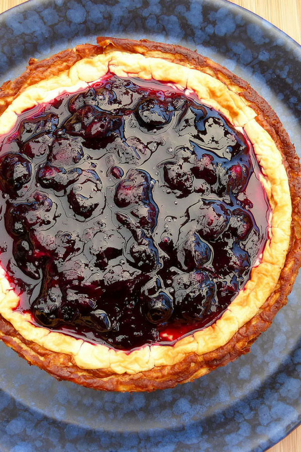 Baked Greek Yoghurt Cheesecake with a Fresh Blueberry Compote (no refined sugar and gluten free)