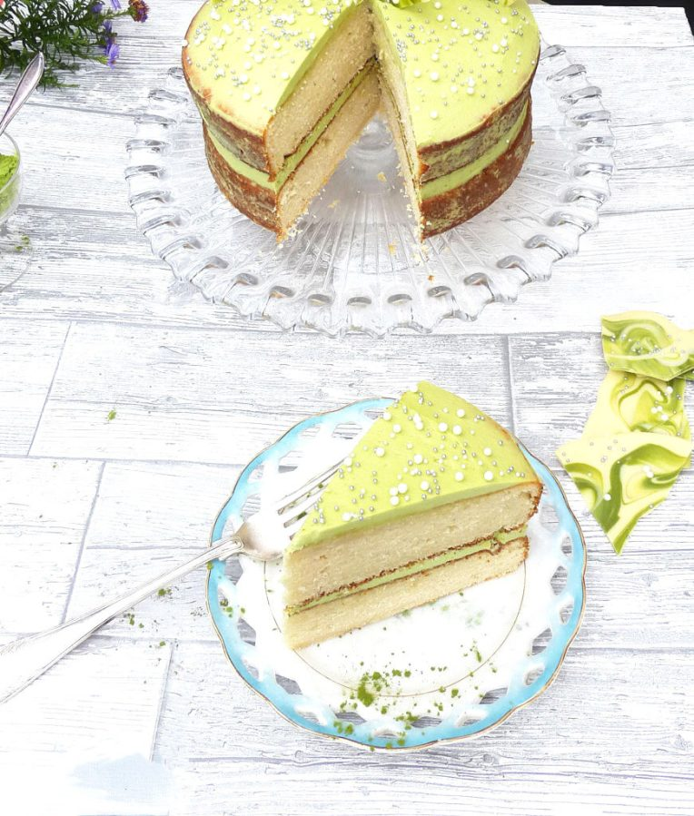 White Chocolate Shard Cake with a White Chocolate Matcha Frosting