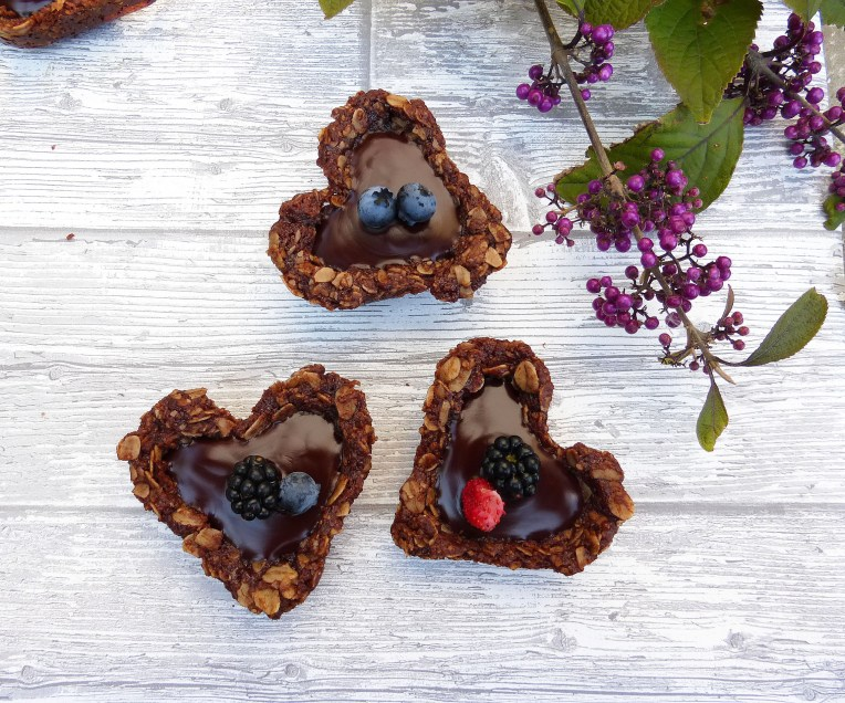 Gluten Free Chocolate Oat Cookie Cups with a Chocolate Ganache Filling