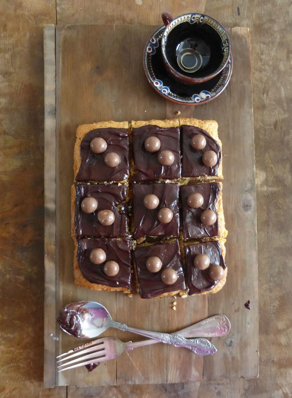 Malteser Soft Cookie Bars with Chocolate Cream Cheese Frosting