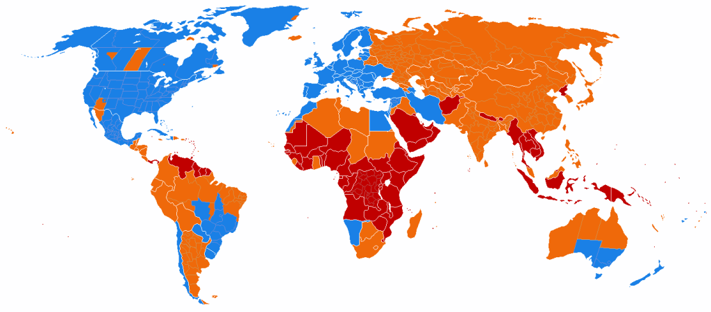 Daylight Savings Time Usage Map blue=uses  orange=formerly used red=has never used