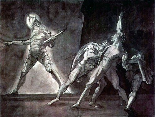 Painting of Shakespeare's Hamlet and his father's ghost by Henry Fuseli