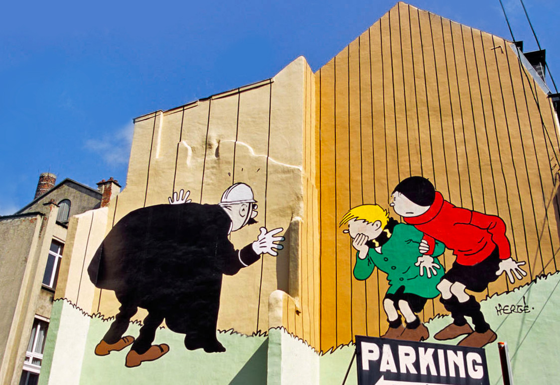 Quick and Flupke comic mural / street art in Brussels