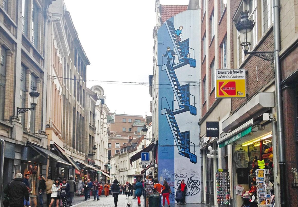 Tintin comic book mural / street art in Brussels