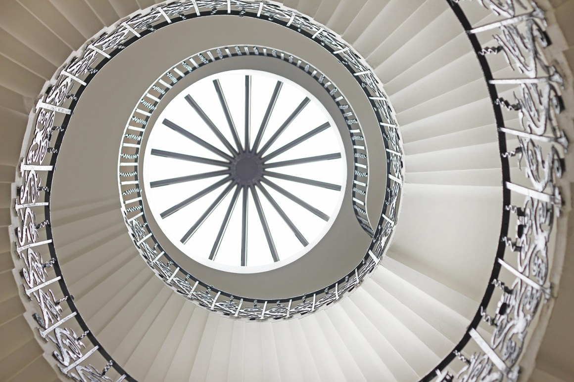 The Tulip staircase inside the Queen's House in Greenland, London
