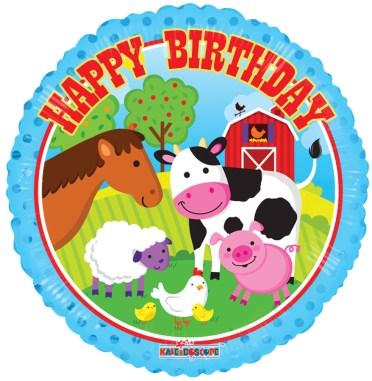 happy birthday farm animals balloon