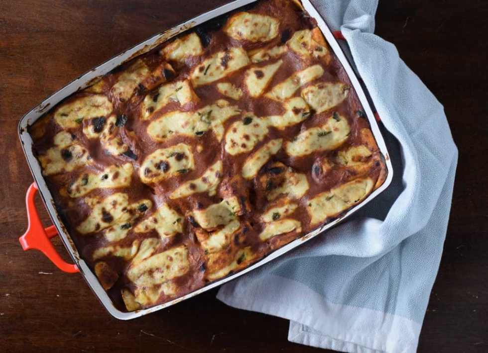 Chipotle Black Bean and Sweet Potato Enchiladas