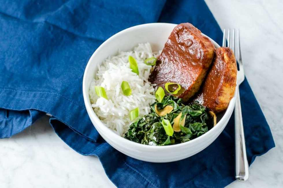 chipotle barbecue tofu with smokey collard greens