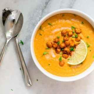 Thai Curry Cauliflower Lentil Soup Chickpea Croutons