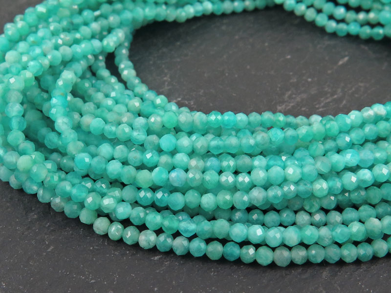 AAA Amazonite Micro Faceted Rondelles 2mm 13 Strand