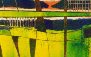 detail of multi coloured viscosity printing