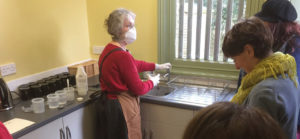 mixing caustic soda for lino etching