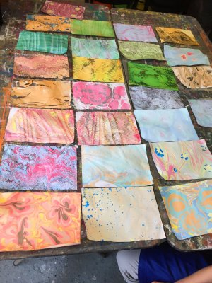 marbled papers on table