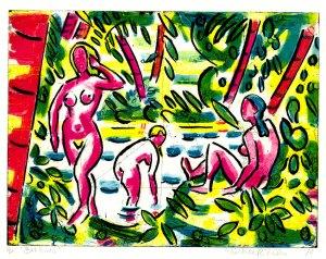 Michael Cullen, Bathers, carborundum print