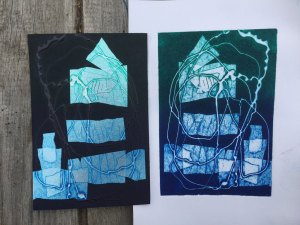 foil and tar gel on carborundum paper