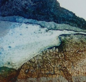 Collagraph print with crackle texture